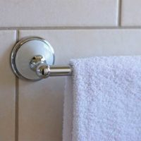towel hanging on hand rail